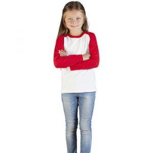 Promodoro T-Shirt Manche Longue Raglan Baseball Enfants, 140, blanc / rouge feu