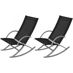 VidaXL Chaises à bascule de jardin 2 pièces