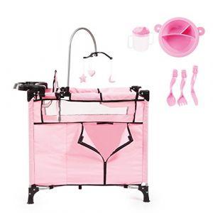Bayer Set Lit avec Accessoires pour poupée rose avec un biberon, une assiette et couverts