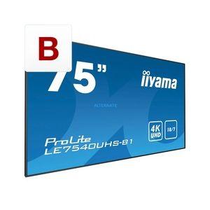 "iiyama LE7540UHS-B1 - Moniteur Pro dynamique 75"" 18/7 4K UHD et slot OPS"