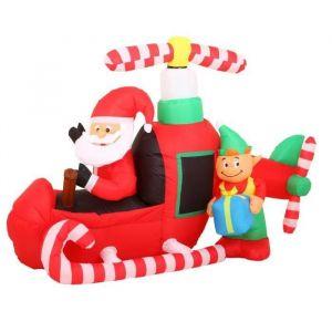 Père Noël gonflable en hélicoptère