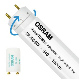 Osram SubstiTUBE Advanced UO EM 22.5W 840 150cm | Blanc Froid - Starter LED incl. - Substitut 58W - Rotatif