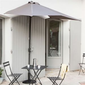 Les Essentiels by DLM Demi-parasol de balcon rectangulaire en aluminium avec manivelle 230x130cm Circle - Taupe - Sans pied