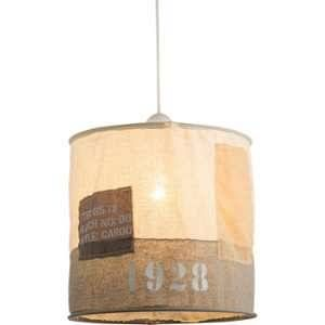 Globo Lighting GLOBO Plafonnier L30 x l30 x h9 cm - Chrome blanc - Suspension tissu beige gris - A:280 - H:260 - Ampoule non incluse - 1xE27 60W 230V