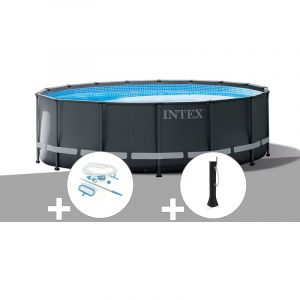 Intex Kit piscine tubulaire Ultra XTR Frame ronde 5,49 x 1,32 m + Kit d'entretien + Douche solaire