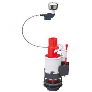 Wirquin Mécanisme double chasse mécanique BP 3/6L - Economiseur d'eau 3/6 L a double bouton poussoir - NF - Compense les écarts d'alignements couvercle/cuve des réservoirs - Possibilité de soulever le couvercle sans démontage