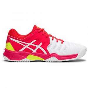 Asics Baskets Resolution Clay Gs - White / Laser Pink - Taille EU 34 1/2