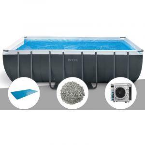 Intex Kit piscine tubulaire Ultra XTR Frame rectangulaire 5,49 x 2,74 x 1,32 m + Bâche à bulles + 20 kg de zéolite + Pompe à chaleur