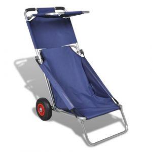 VidaXL Chariot de Plage avec Roues Portable et Pliable Bleu Pêche Pique-Nique