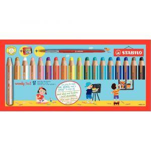 Stabilo Etui de 18 crayons de couleur Woody + 1 taille-crayon + 1 pinceau