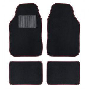 4 tapis de voiture universels moquette HANA noir ganse rose