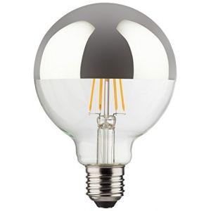 Müller-Licht 400216 A + +, rétro lampe LED Mini Globe équivalent 60 W, verre, 8 W, E27, argent, 9,5 x 9,5 x 13,5 cm