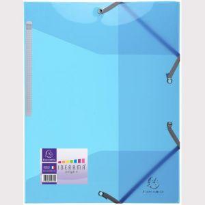 Exacompta 55672E - Chemise à élastique 3 rabats IDERAMA PP, coloris bleu clair