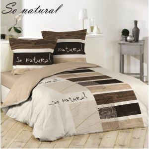 Les douces nuits de Maé So Natural - Housse de couette et 2 taies 100% coton (220 x 240 cm)