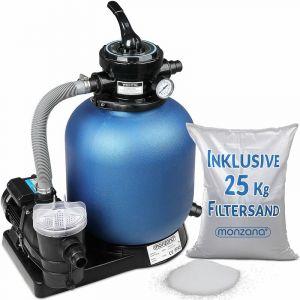 Monzana Pompe Filtre à Sable 10.200 l/h système Filtration Eau Piscine 450W IPX5 verre filtrant 25 kg inclus vanne 4 Voies Fonctions Bassin