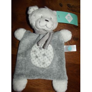 Tex Baby Doudou Ours gris et blanc rectangle étoiles