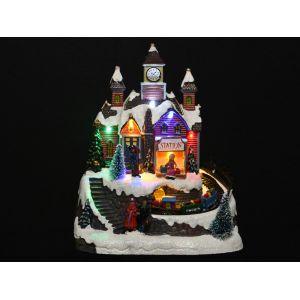 Décoris Village de Noël lumineux LED et animé magasin de jouet