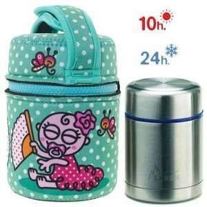 Laken Lunch Box isotherme inox avec housse turquoise avec bébé flamenco, 0,5L