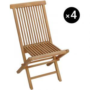 Happy Garden Lot de 4 chaises de jardin en teck LOMBOK