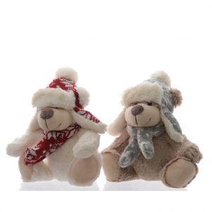 Ours en peluche blanc ou marron clair avec chapeau 15x25x20 cm