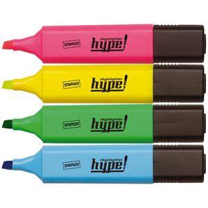 1er Prix Surligneur Hype - pointe biseautée 1 et 5 mm - coloris assortis - pochette de 4 - paquet 4 unités