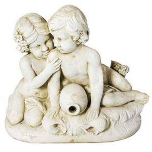 Fontaine en pierre reconstituée 2 enfants assis DECO GRANIT