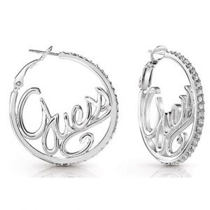 Guess Boucles d'oreilles UBE85077 - Boucles d'oreilles Authentics créoles Métal Rhodié Logo Femme