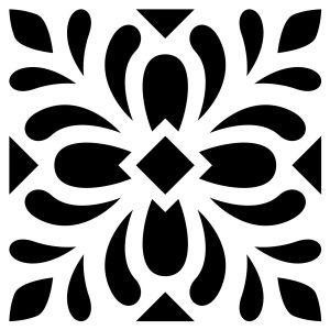 Artémio Pochoir Home Déco - Carreau ciment Feuilles - 15 x 15 cm