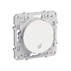 Schneider Electric Odace poussoir blanc avec symbole carillon à vis s520246