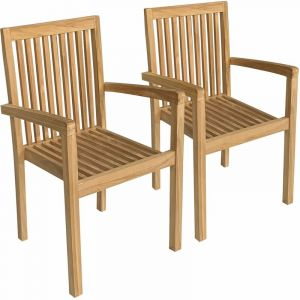 Happy Garden Lot de 2 chaises de jardin JAVA empilables en teck Marron