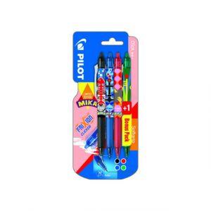 Pilot Lot de 3 stylos roller FriXion Clicker + 1 stylo vert - MIKA EDITION LIMITÉE