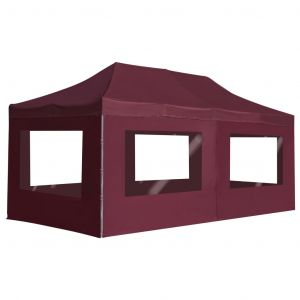 VidaXL Tente de réception pliable avec parois Aluminium 6x3 m Bordeaux