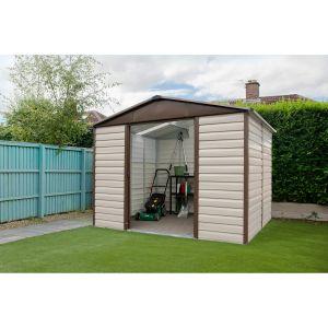 Yardmaster Abri de jardin en métal 5,97m² - Crème et marron