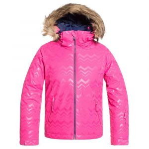 Roxy Jet Solid Girl-Veste de Ski/Snowboardpour Fille 8-16 Ans Snowboard, Beetroot Pink Aztecspiritembos, FR (Taille Fabricant : 14/XL)