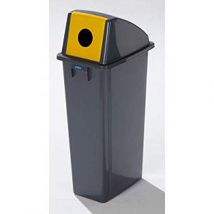 Certeo Collecteur de tri en plastique - capacité 80 l - orifice rond - collecteur de déchets collecteur de tri poubelle poubelle à déchets poubelle à ordures poubelles Collecteur de déchets Collecteur de déchets pour atelier Collecteur de tri sélectif Col