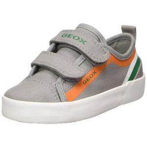 Geox J Kilwi A, Sneakers Basses Garçon, Gris (Grey/Orange), 35 EU