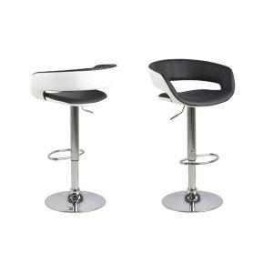 Miliboo Tabourets de bar design lot de 2 noir et blanc PU GRAVIT V2