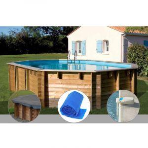 Sunbay Kit piscine bois Vermela 6,72 x 4,72 x 1,46 m + Bâche hiver + Bâche à bulles + Alarme
