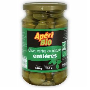 Apéri bio Olives vertes natures entières - 340g