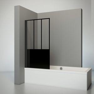 Schulte-ufer Pare baignoire pivotant paroi de baignoire anticalcaire rabattable écran de baignoire noir 1 volet pliant verre décor Atelier 5 80x140 cm Schulte