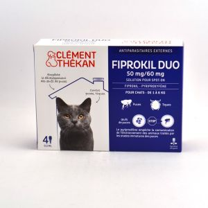 Clément Thékan Fiprokil Duo 50 mg/60 mg pour chats 4 pipettes