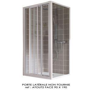 Leda Porte de douche Atout 2 face 3 vantaux accès angle (90 x 190 cm)