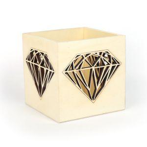 Graine Créative Photophore en bois Diamant 10 x 10 x 10 cm