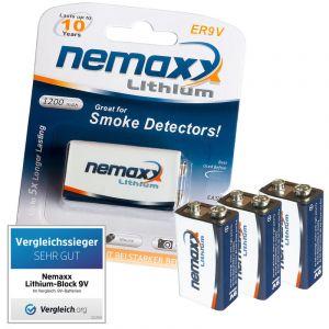 Nemaxx 3x batterie au lithium de 9V avec 10 années durée de vie pour les détecteurs de fumée
