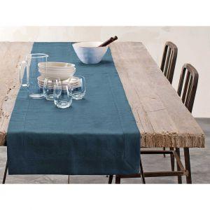 Blanc Cerise Chemin de table - lin déperlant - uni canard 050x180 cm Bleu
