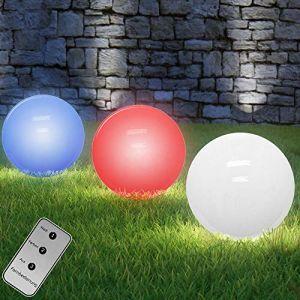 Monzana Lampe Solaire sphérique LED - Changement de Couleur - Télécommande - ø 30cm - Allumage Automatique - Design Moderne - Lampe Boule