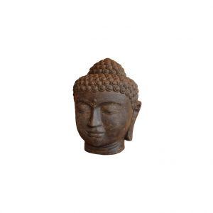 Statue tête de Bouddha en pierre reconstituée coloris noir 50 cm