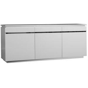 Comforium Bahut 3 portes 3 tiroirs blanc laqué et éclairage a2b15123d408