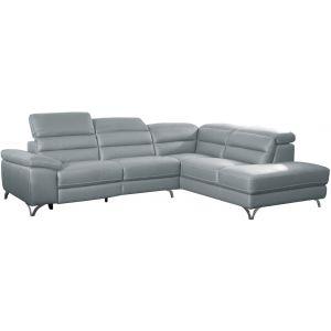 Comforium Canapé d'angle design avec relax électrique et méridienne droite en cuir véritable gris clair