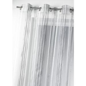 Homemaison Voilage en organza tissé rayures verticales  (150 x 260 cm)